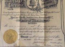 1920 Texas Marriage License Certificate Rites Of Matrimony