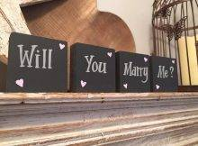 Wooden Proposal Signs - 'Will You Marry Me?' , Set Of 4